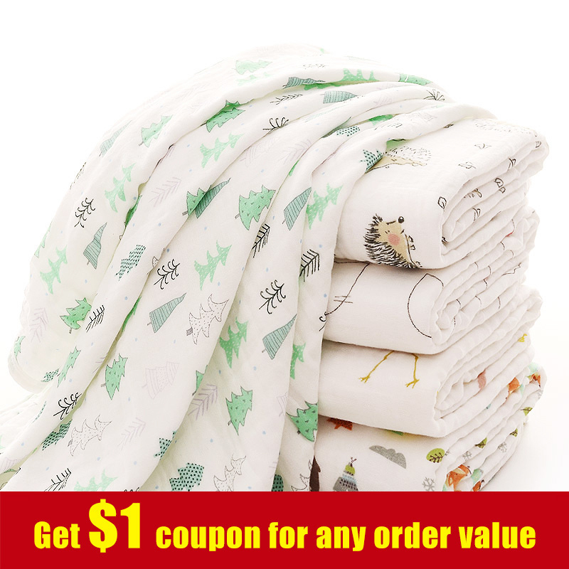 [simfamily] 1Pc100%Cotton Flamingo Fruits Print Muslin Baby Blankets Bedding Infant Swaddle Towel For Newborns Swaddle Blanket