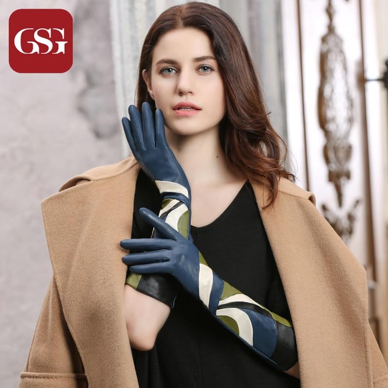 Gsg neue mode frauen echtes leder lange handschuhe mit patchwork - Bekleidungszubehör - Foto 2