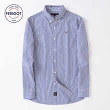 PERIGOT PGM170101 2017 New All Season Men's Business Casual Striped Shirt Male 100% Cotton Classical Shirt Top S-L