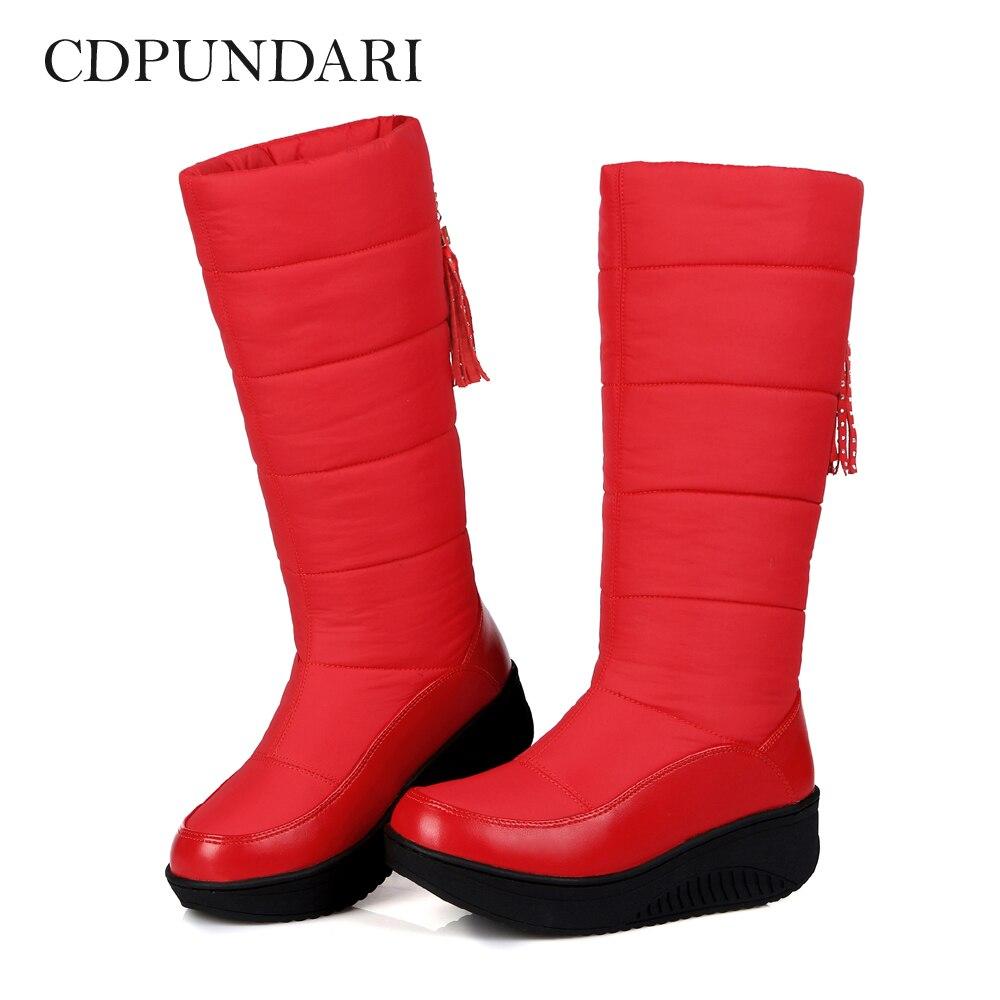 CDPUNDARI bas bottes de neige en peluche femmes bottes dhiver dames plate-forme bottes noir rougeCDPUNDARI bas bottes de neige en peluche femmes bottes dhiver dames plate-forme bottes noir rouge