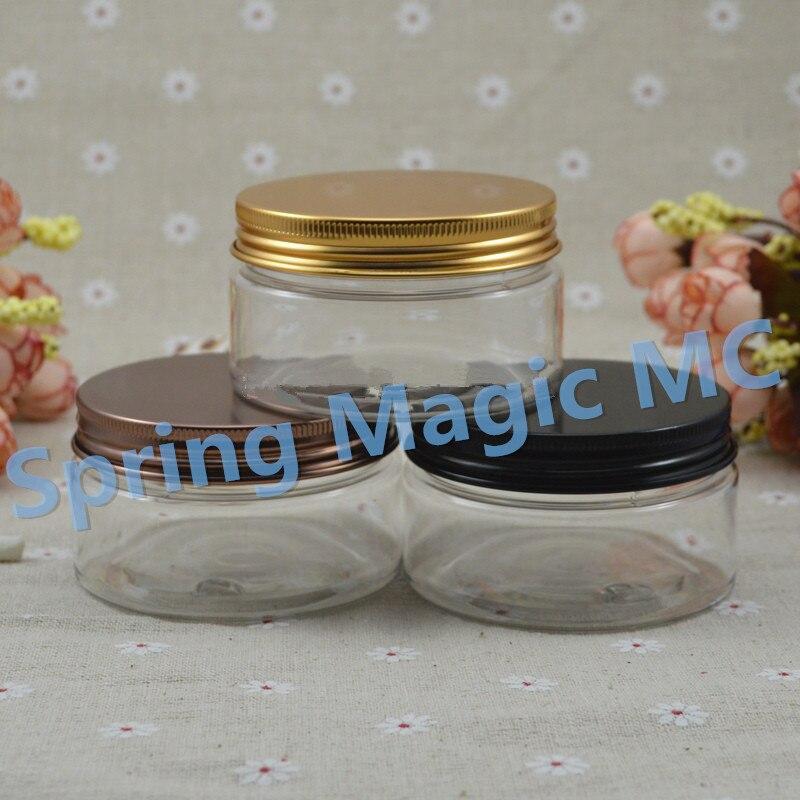 Empty PET Jars 100g Transparent Plastic Cosmetic Jar With Aluminum Lid Cream Container Hair wax bottle