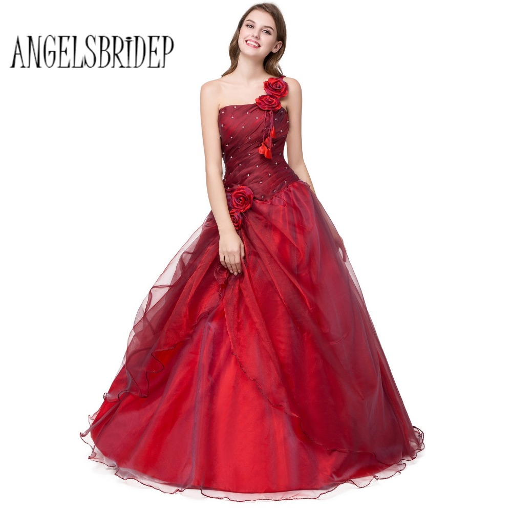 Red Ball Gown Dresses: ANGELSBRIDEP Long Prom Dresses 2018 With Floral One