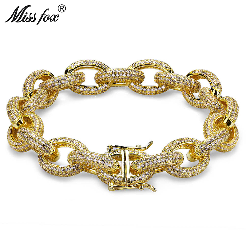 MISSFOX Hip-Hop 12mm Oval Multi-Layer Twist Micro-Studded High-End Diamond Inlay 18K Gold Jewelry Clasp Men's Brand Bracelet