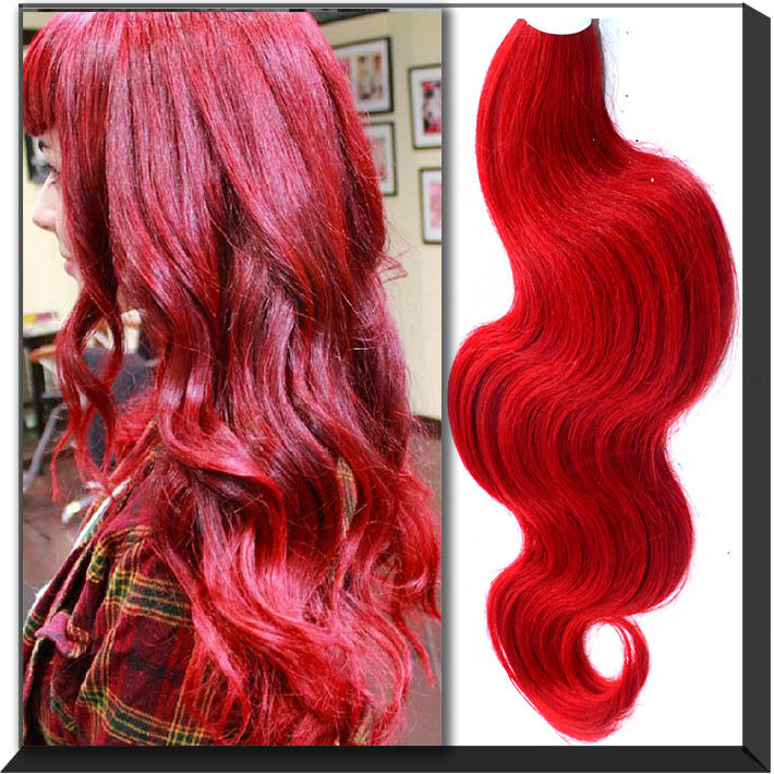 Permanent Bright Red Hair Dye Cheap Remy Human Hair Extension Red