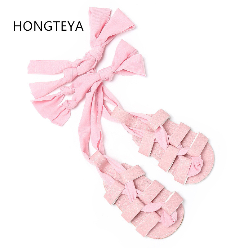 HONGTEYA Baby High Gladiator Sandals Kids PU Leather Sandals Flat Heels Lace-up hard rubber sole girls roman shoes