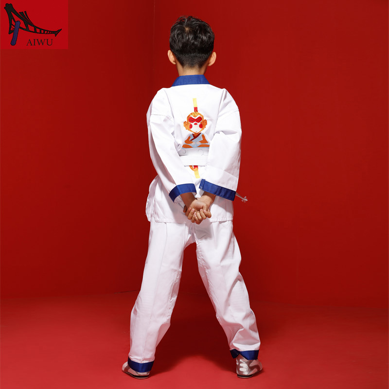 Hot Sale WTF Tae Kwon Do Dobok Clothes Child ITF Taekwondo Uniform  Size XXXS-M With Blue Edge