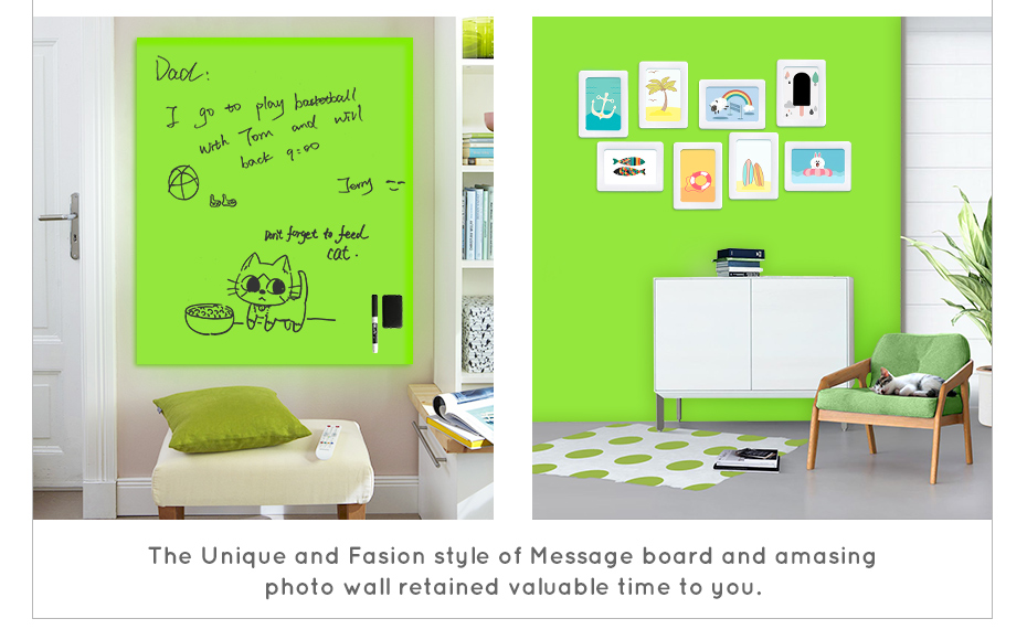 930_08 New creative ferrous whiteboard DIY Green board Message Board waterproof Wall Sticker 150 cm x 100 cm x 0.6 mm