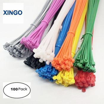 Xingo Cable Zip Ties Self-Locking 300mm Loop-Wrap Colored-Cable Nylon Plastic 100pcs 5x250mm self locking nylon cable zip ties 100pcs plastic cable zip tie approved loop wrap bundle ties black
