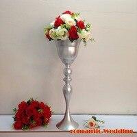 66cm(H) Shiny Silver Wedding flower vase Wedding Decoration Table Centerpiece 10pcs/lot