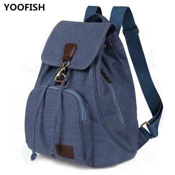 New Vintage Waterproof Fashion Canvas Womens Backpack Minimalist leisure travel bag handiness student XZ-178.