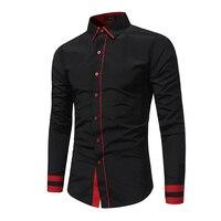 2018 Новая мода Для мужчин; Повседневная рубашка тонкий Повседневное одноцветное Цвет с длинным рукавом Для мужчин рубашка Рубашка слим Для м