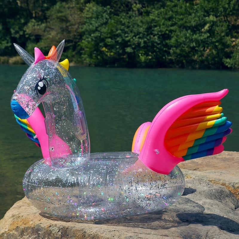 180 cm gonflable holographique paillettes licorne piscine flotteur Transparent arc-en-ciel Pegasus cheval anneau de natation adulte enfants eau amusant jouet