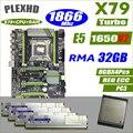 PLEXHD X79 Turbo motherboard LGA2011 ATX combos E5 1650 V2 4 stücke x 8 gb 32 gb 1866 mhz PC3 14900R PCI-E NVME M.2 SSD USB3.0 SATA3