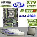 PLEXHD X79 Turbo placa base LGA2011 ATX combos E5 1650 V2 4 piezas x 8 GB 32 GB 1866 MHz PC3 14900R PCI-E NVME M.2 SSD USB3.0 SATA3