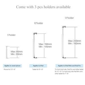 Image 5 - עמדת רצפת לוח אלומיניום גובה מתכוונן נייד טלפון מיטת ספה מחזיק זרוע סיבוב עבור iPhone X iPad פרו אוויר מיני 7 13 אינץ