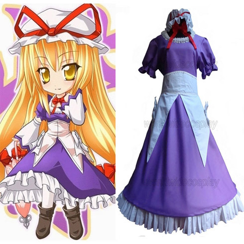 Free Shipping Touhou Project Yakumo Yukari Cosplay Dress Custom Made for Halloween and Christmas