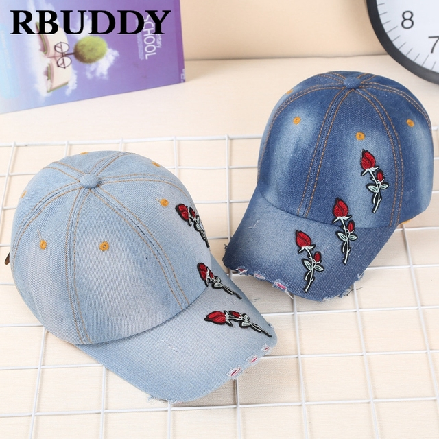 RBUDDY Classic Floral Baseball Caps Rose Hip Pop Streetwear Snapback  Trucker Dad Hat for Women Men Gift Brand Jeans Hat 2018 547648843e1c