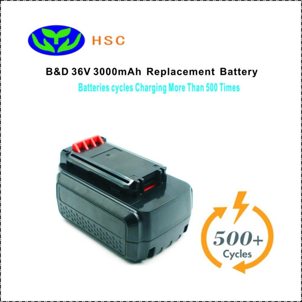 3000mAh 18650 battery pack BD36 Lithium ion Battery 36V Replacement Black Decker LBXR36 LBX36 Battery 36V