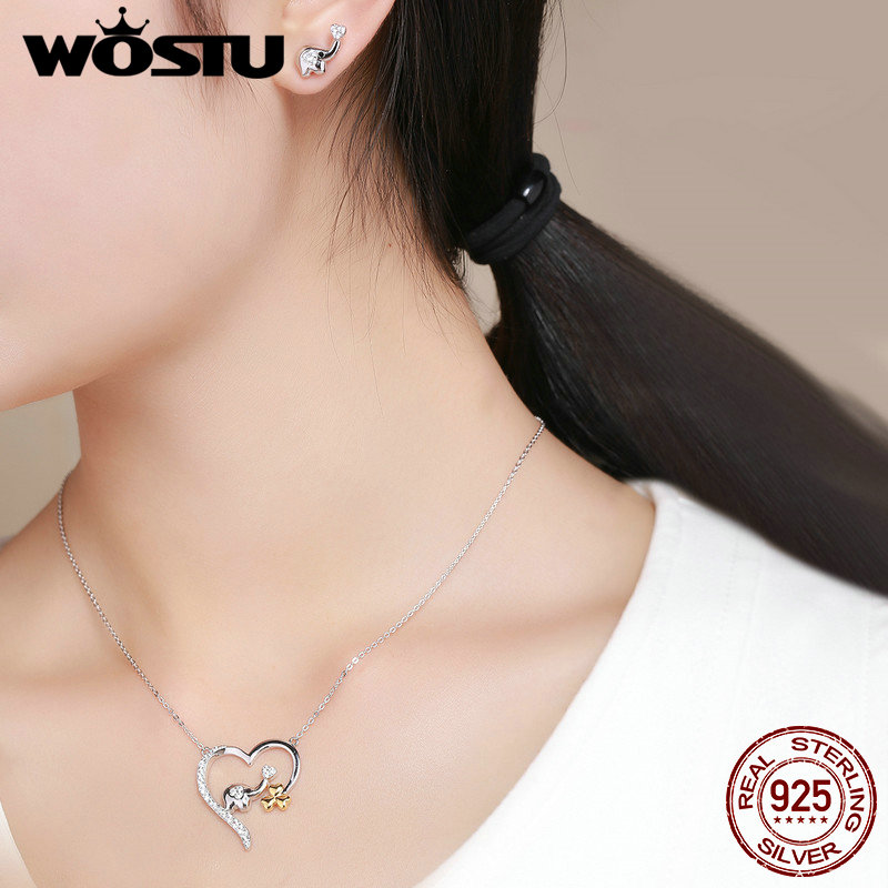 Image 2 - WOSTU High Quality 925 Sterling Silver Cute koala Pendant Necklace For Women Girl Lovely Jewelry Gift For Girlfriend DXN256Necklaces   -