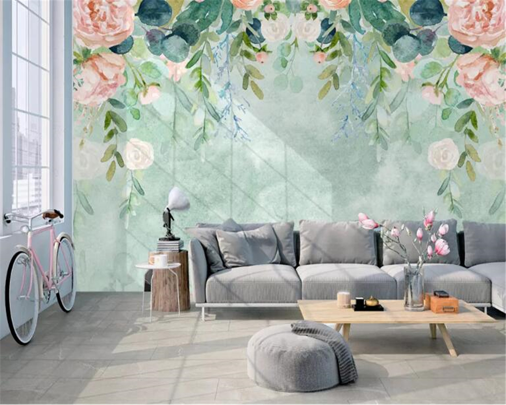 beibehang Custom photo 3d wallpaper Nordic small fresh hand painted watercolor cartoon flowers mural background wall wallpaper in Wallpapers from Home Improvement