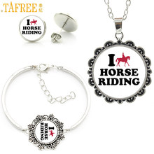 TAFREE glass cabochon equestrian sports love horse riding statement necklace earrings bracelet fashion women jewelry sets SP533(China)