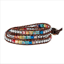 New Chakra Bracelet Fashion Jewelry Natural Crystal Beaded Handmade Leather Wrap HandWork Drop Shipping