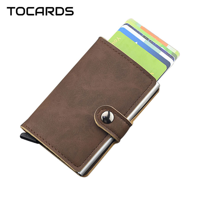 RFID Blocking Mode Leder Kreditkarte ID Halter Vintage männer Metall Aluminium Business Smart Karteninhaber Dünne Karte Fall Brieftasche
