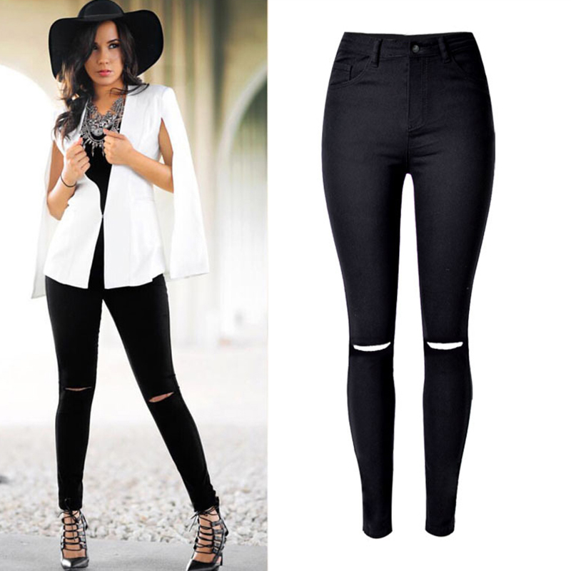 Fashion Women Black Denim Jeans Pants High Waist Knee Hole Elastic Pencil Pants Casual Skinny Female Cotton Denim Jeans Trousers 2017 new jeans women spring pants high waist thin slim elastic waist pencil pants fashion denim trousers 3 color plus size