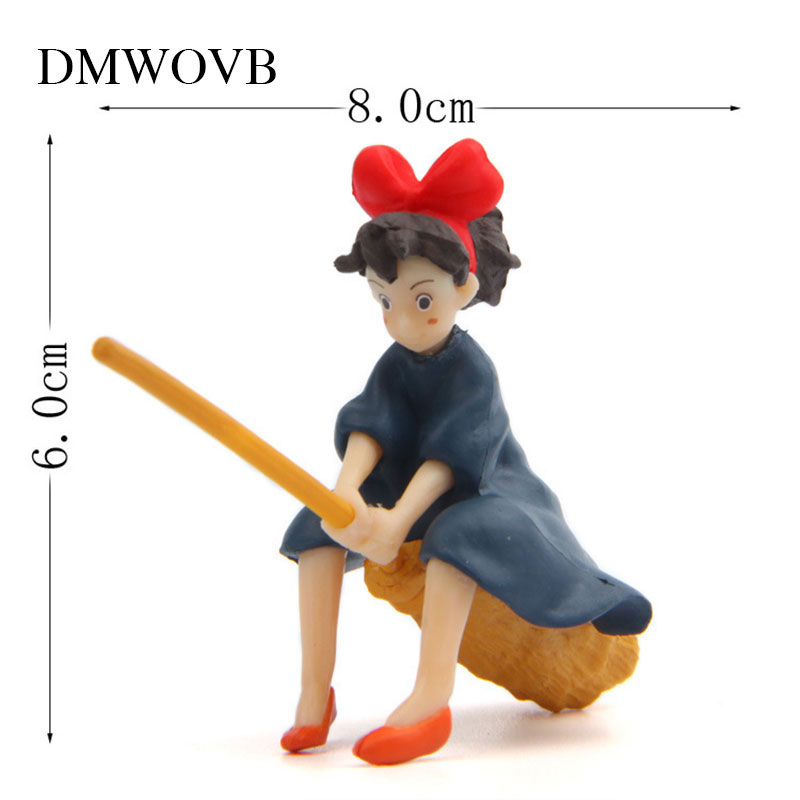DMWOVB 1 Pcs Cute Studio Ghibli Hayao Miyazaki Kiki 39 s Delivery Service Kiki Sit On The Broom To Fly Action Figure Toy 6 8cm in Figurines amp Miniatures from Home amp Garden