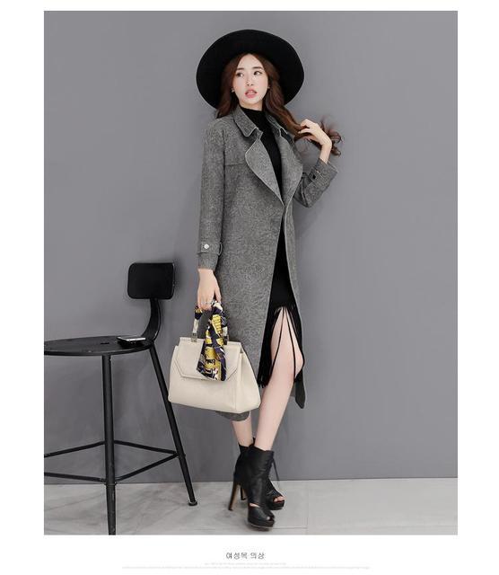 2016 Autumn new Korean Women OL windbreaker long size Slim suede spring and autumn coat