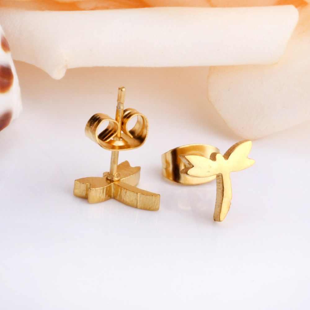 Thời trang Chuồn Chuồn Với Charm Pha Lê Stud Earrings Đối Với Phụ Nữ/Cô Gái Thép Không Gỉ Vàng/Bạc Màu Bông Tai Nữ Phụ Kiện