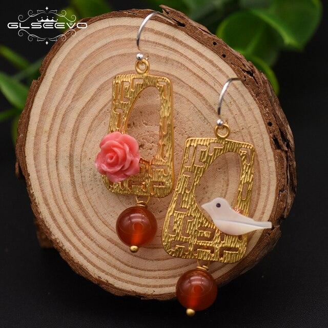Фото glseevo натуральный красный агат висячие женские серьги птица