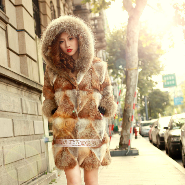 Natural Red Fox Fur Coats Women's Real Fur Overcoat Woman Genuine ...
