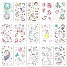 15Pcs/ Children Tattoo Sticker Cartoon Tatuajes Temporary  Kids Waterproof Fake Tatoo Hand Taty Cute Unicorn Body art Tatouage