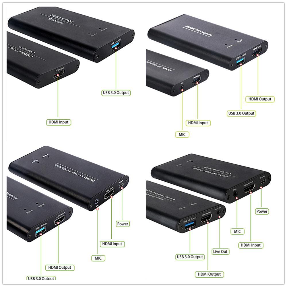 KuWFi USB3.0 HDMI 4K60Hz Capture vidéo HDMI vers USB Capture vidéo carte Dongle jeu Streaming diffusion en direct avec micentrée - 4