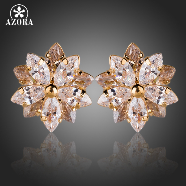 AZORA Gold Color Lotus Flower With 10pcs Top Quality Cubic Zirconia Stud Earrings TE0139 купить недорого в Москве