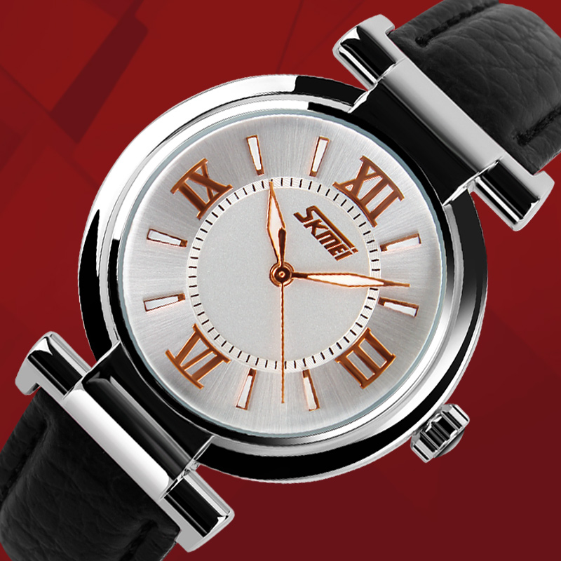 065e8e8662f start1738084968013011968013011. SKMEI Populares Mulheres Vestido Relógios  Pulseira de Couro de Ouro Senhoras Relógio de Quartzo Moda ...