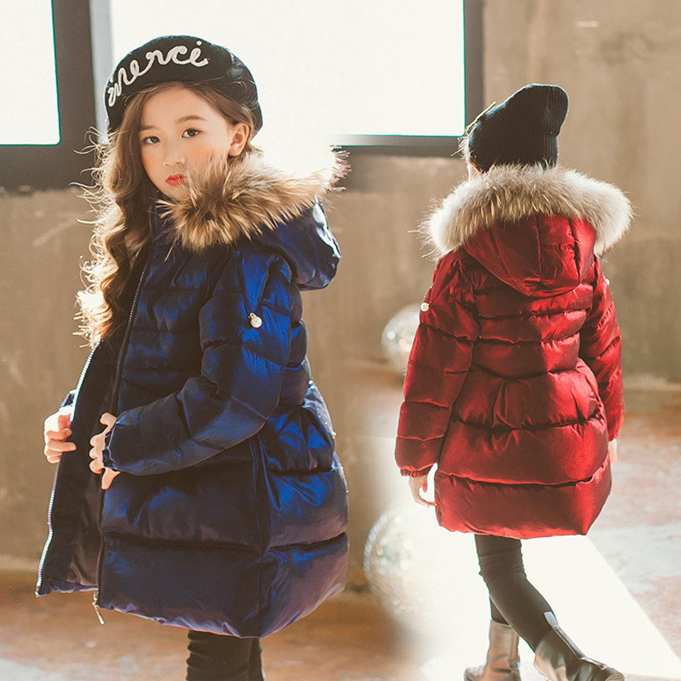 2018 New Fashion Children Winter Jacket Girl Winter Coat Kids Warm Thick Fur Collar Hooded Long