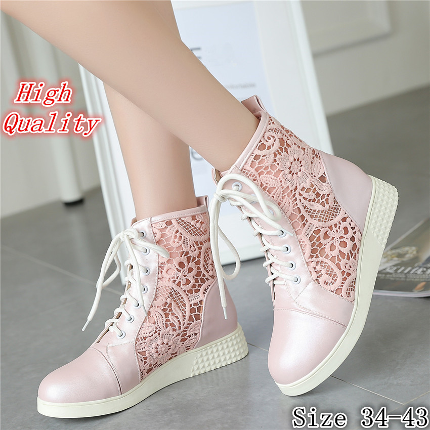 High Quality Summer Spring Cut-Outs Woman Flat Ankle Boots Lace-Up Women Flats Casual Shoes Short Boots Plus Size 34-40.41,42,43 new 2015 fashion high quality lazy shoes women colorful flat shoes women s flats womens spring summer shoes size eu35 40wsh488