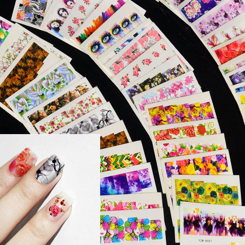 54pcs Mix Colorful Full Nail Flower Nail Art Water Transfer Sticker Nail Sticker Sets For Gel Polish Manicure Decals