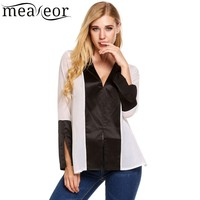 Meaneor Tulle Chiffon Blouses Women Long Sleeve Blusas Contrast Color Femininas Split Casual Loose Satin Shirt