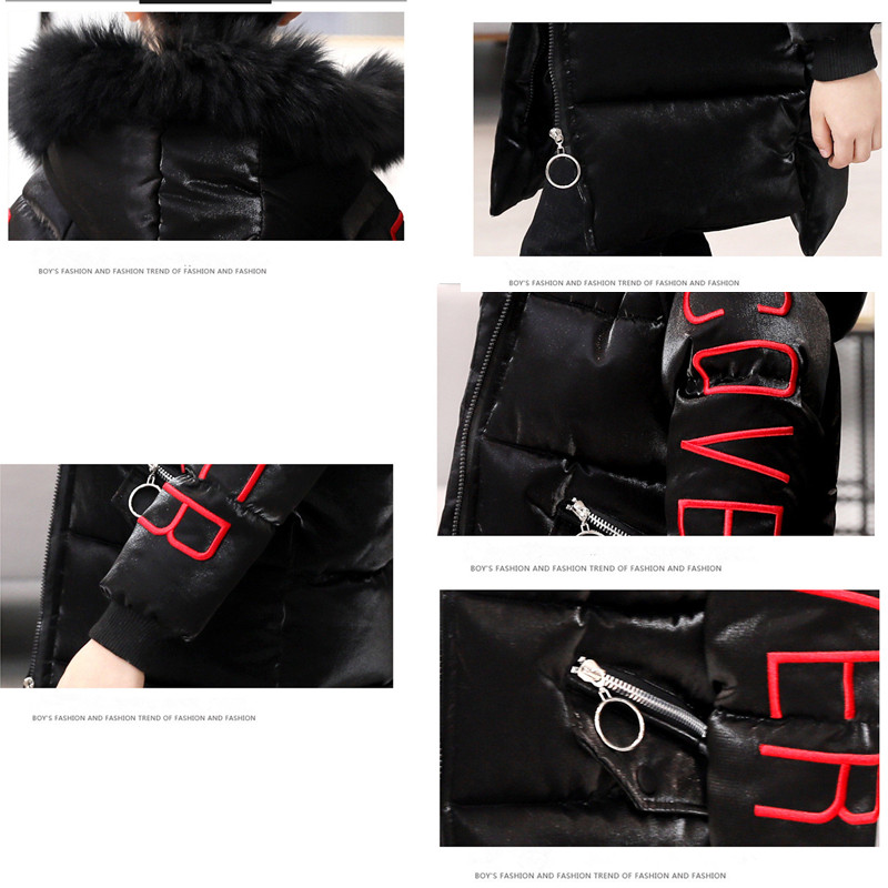 Boy Girl Winter Hooded Warm Parkas Cotton-padded Jackets 2018 New Children's Coat Fashion Letters Printed Wadded Jacket 120-160