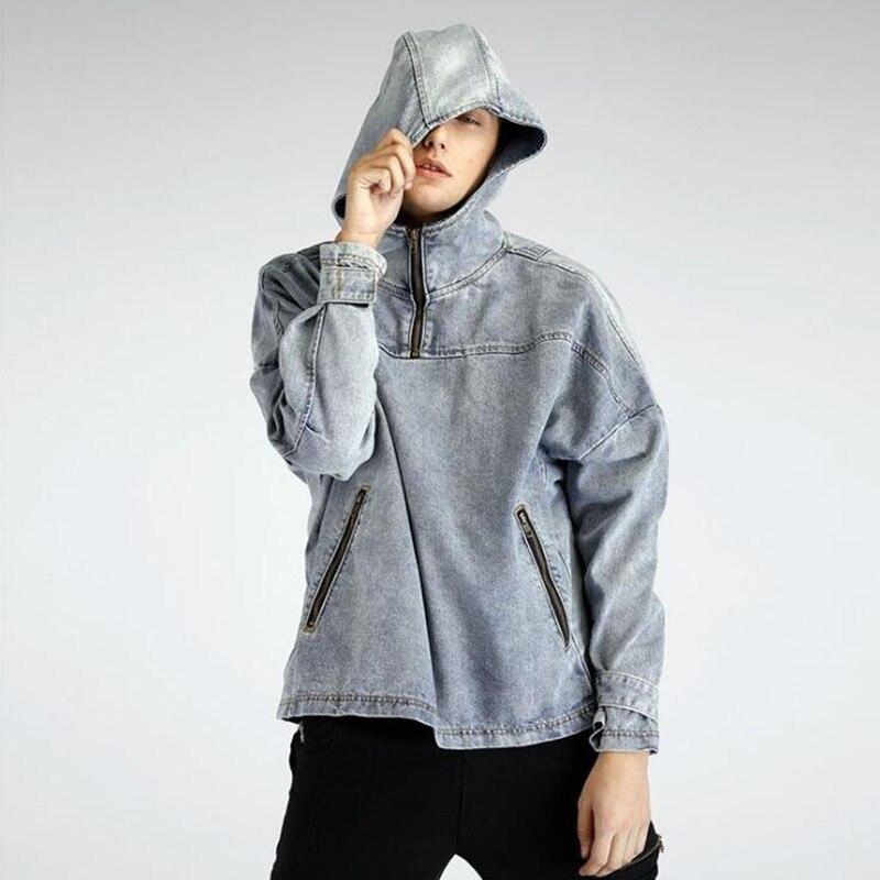 2018 Le Nouveau Hip Hop Homme vêtements À Capuche couche de finition haute Rue Avec streetwear cow-boy laver Denim décontracté Hoodies plushcap M-XL