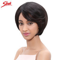 Sleek Brazilian Virgin Hair Straight Short Human Hair Weave Wigs For Black Women Lace Frontal Closure
