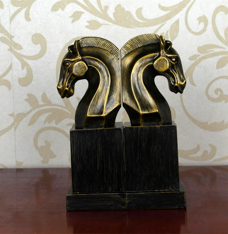 Vintage Horse Bookends Euro Study of High-Grade Office Decorations Resin Crafts Horse Desktop Bookends Best GIFT, Free Shipping