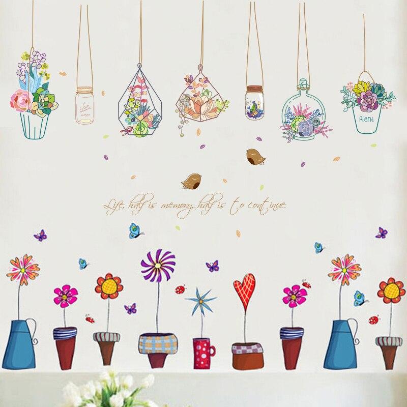 Bonsai En Maceta de Plantas de Flor de Mariposa Pegatinas de Pared Sala de estar
