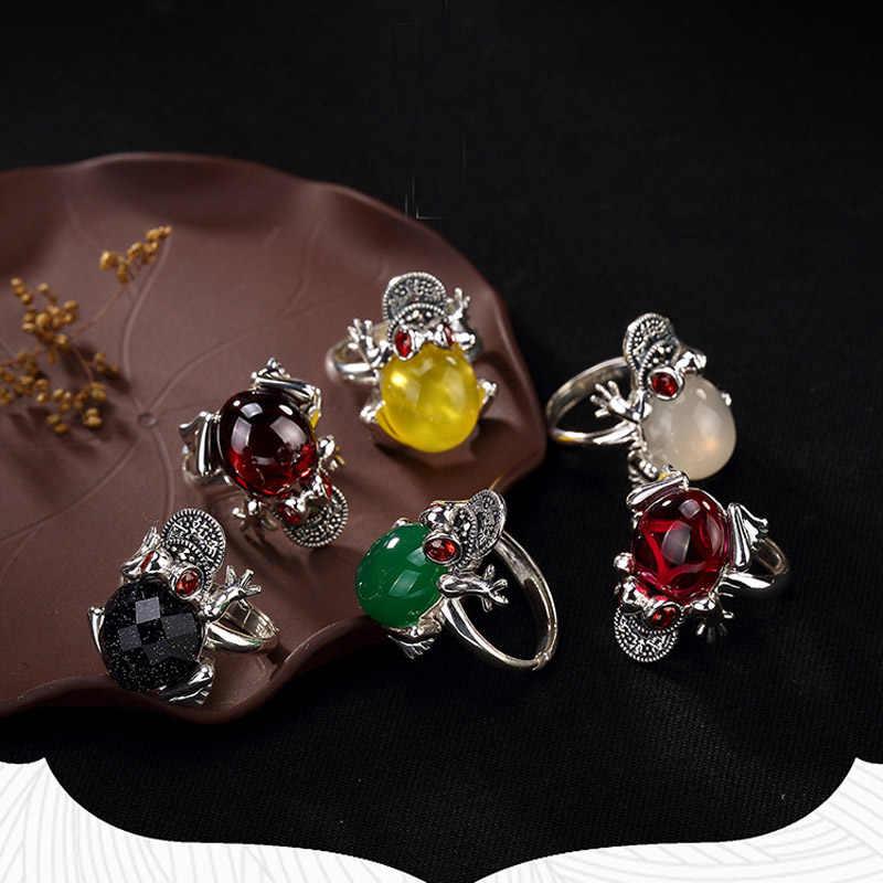 1 ชิ้น/ล็อต Top คุณภาพ S925 Sterling Silver Frog แหวนเปิดสีเขียว/สีเหลืองหยกหินธรรมชาติเครื่องประดับสำหรับผู้หญิงหญิง