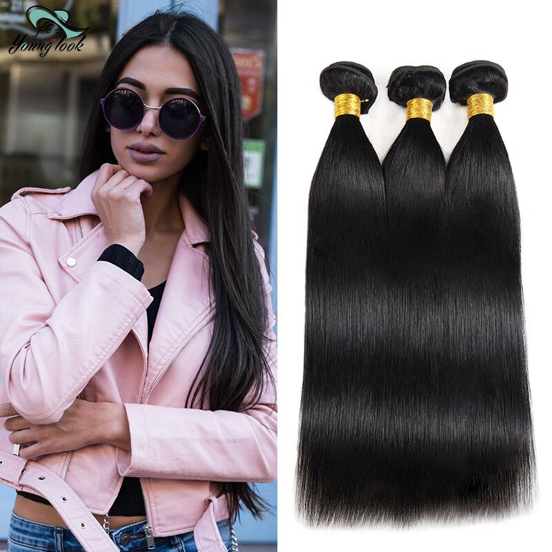 Young Look Peruvian Straight Hair Bundles Natural Color Human Hair Extensions Non-Remy Hair Weave Bundles Free Shipping
