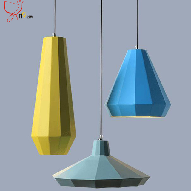 nordic colorful iron art pendant lamps yellow blue light blue 3