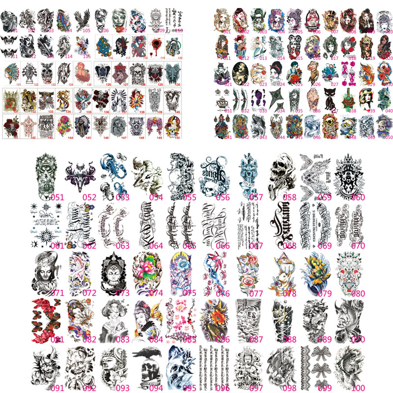 100X Fake Temporary Tattoos Shoulder Lower Arm Transfer Tattoo Stickers Black Totem Hot Sexy Men Spray Waterproof Tatto Designs